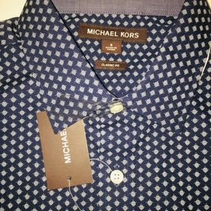 Michael Kors Tops - NEW MICHAEL KORS Brown Label Navy & White Blouse-S